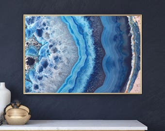 Mineral Photography - (Print #002)  Blue Lace Agate Slice -  Fine Art Print - Two Paper Choices- Mineral Geode Agate Crystal Decor
