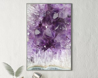 Mineral Photography - (Print # 070) Amethyst   - Fine Art Print - Two Paper Choices- Mineral Geode Agate Crystal Decor