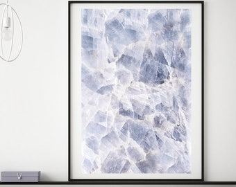 Mineral Photography - (Print #859) BLUE Quartz -  Fine Art Print - Two Paper Choices- Mineral Geode Agate Crystal Decor
