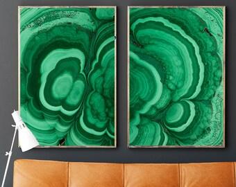 Set of 2 Agate Prints- Prints (Print #045 & 046) - Malachite - Fine Art Print - Two Paper Choices- Mineral Geode Agate Crystal Decor