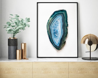 Mineral Photography - (Print #836)  Blue Lace Agate Slice -  Fine Art Print - Two Paper Choices- Mineral Geode Agate Crystal Decor