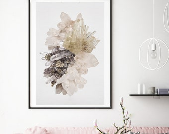 Mineral Photography - (Print # 377 ) Quartz and Pyrite   -Fine Art Print - Two Paper Choices- Mineral Geode Agate Crystal Decor