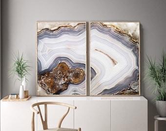 Set of 2 Agate Prints  - Prints (Print #056 & 057) - Fine Art Print - Mineral Geode Agate Crystal Decor