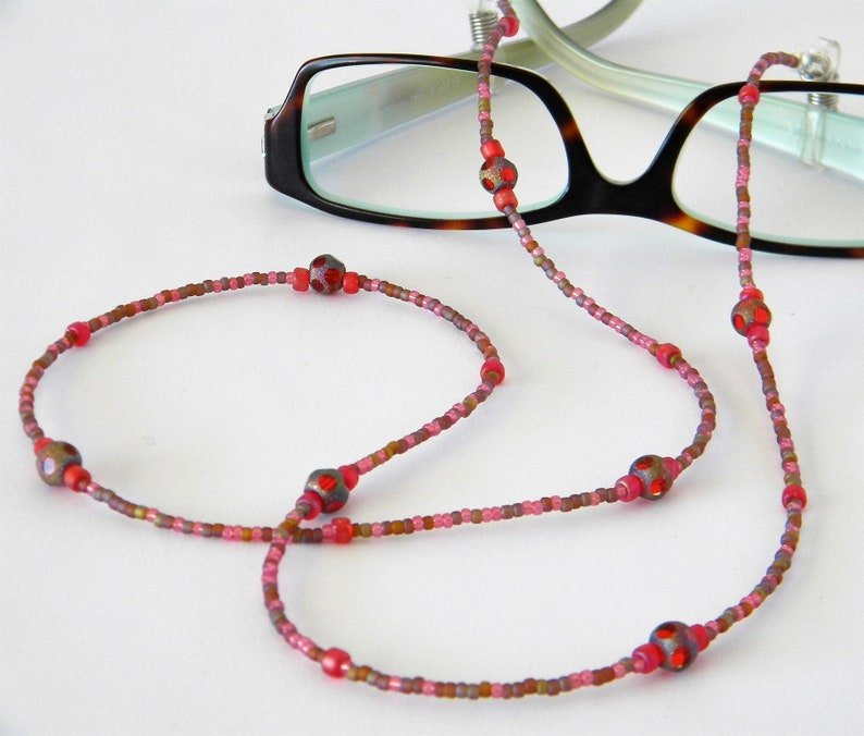 1bd78aecdf09 Beaded Eyeglass Chain Glasses Holder Eyeglasses Leash Pink