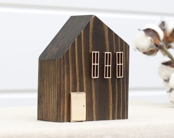 Wood House #2354 | Farmhouse Decor | Rustic Decor | Shelf Decor | Numbered Houses | Primitive House | Tiny House