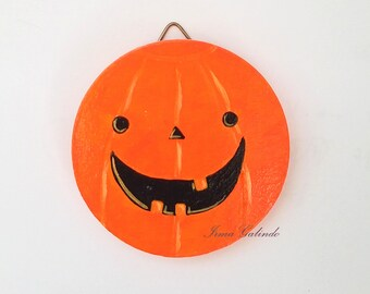 Miniature painting Halloween pumpkin ornament and wall hanging