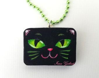 Miniature Painting Pendant hand painted Original  Black Cat