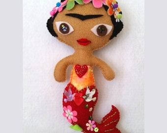 Mermaid Frida Handmade Felt Art Doll