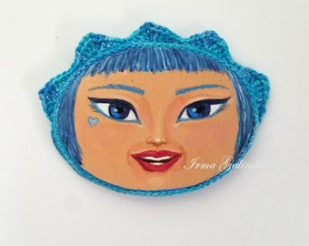 Miniature  Painting Girl with Crocheted Frame color Electric Blue and Blue Eyes