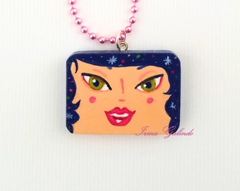 Miniature Painting Pendant hand painted Original of a girl with stars hair