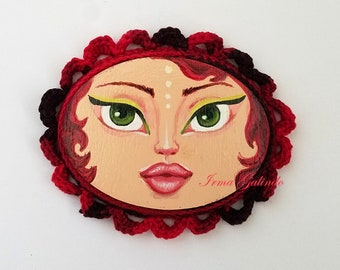 Miniature Painting Girl with Crocheted Frame color Red and Black and Green Eyes
