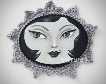 Miniature Painting Girl with Crocheted Frame color Black and White Noir style