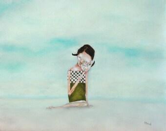 "Summer girls room wall art/little girl on beach fine art print/aqua wall art ""Seafaring Tales"""