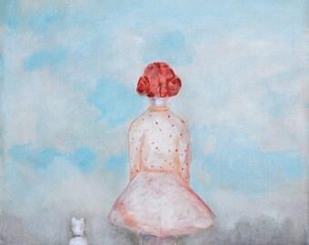"Girls wall art/ red head girl portrait bedroom nursery art/ girl with dog art print/ daughter girls room decor ""Spring"""