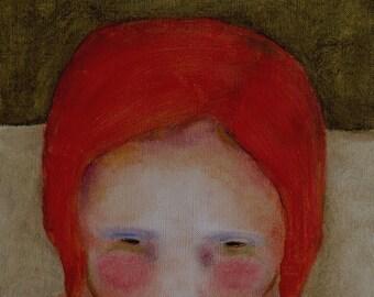 """Red head girl portrait art/little girl kids room decor/girls room painting print/girls/red haired little girl wall art """"Olive Skies"""""""