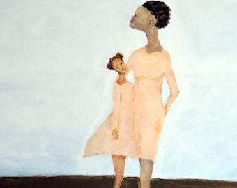 """African american mother daughter sister art. Mom daughter wall art.  Girl's room wall art decor. """"Sweet-Mae and Bebe"""""""