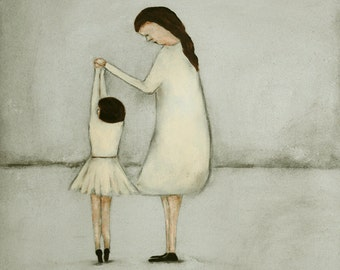 "Ballet dance art print/ballerina girl wall art/mom and daughter dance art/ballet girls room art/off white and gray ""Dance - Mae and Bebe"""