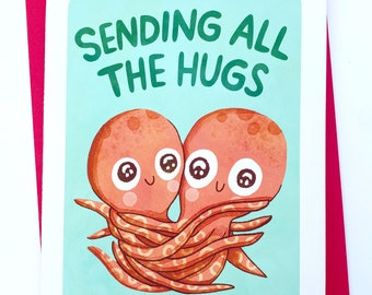 Sending all the Hugs - Cute Missing you Card Octopus hugging Card Long Distance Card Friendship Card Thinking of You Card Funny Missing you