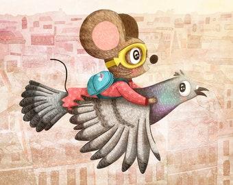 Mouse Flying Adventure - Mouse Illustration Animal Adventure Art Print Cute Illustration Gender Neutral Baby Nursery Art Flying Illustration