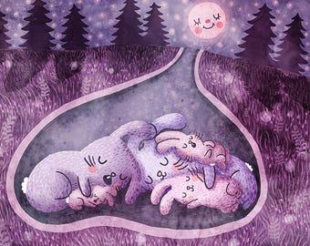 Moonlight Slumber - Cute animal print Bunny Print Nursery Art Bunny Art Print Bunny Illustration Gender Neutral Baby Woodland Nursery Art