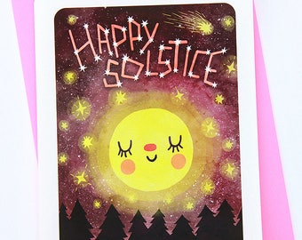 Happy Solstice Card- Cute Holiday Card Moon Seasons Greetings Cute Winter Card Winter Solstice Card Atheist Holiday Card Anti Christmas Card