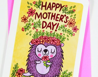 Hedgehog Mother's Day Card - woodland Mother's day card for mom mothers day funny sweet mothers day card unique gift for mother cute card