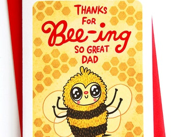 Thanks for Bee-ing So Great Dad Card - Cute Father's Day card Sweet Father's day gift funny fathers day card husband Bee Card Puns Dad card