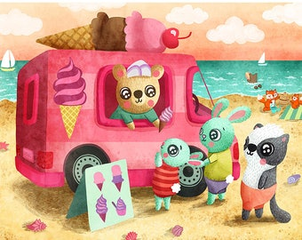 Ice Cream Truck Illustration - Cute Ice Cream Print Nursery Art Animal Art Print Beach Illustration Gender Neutral Baby Cute Nursery art