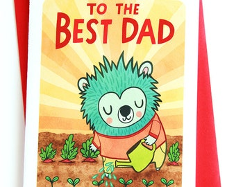 To the Best Dad - Father's day card for dad Gardener Cute fathers day card Sweet Fathers day card fathers day card husband hedgehog card dad