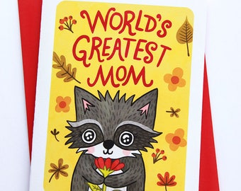 World's Greatest Mom Raccoon - Sweet Mother's day card for mom mothers day gift funny mothers day card Woodland floral mothers day card cute
