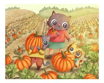 Pumpkin Picking Cats - Cat Illustration Art Print Pumpkin Illustration Gender Neutral Baby Nursery Animal Cute Cat Nursery Art Wall Decor