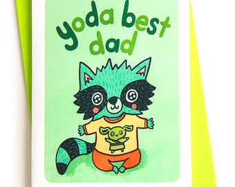 Yoda Best Dad - Father's day card for dad Star Wars Fan Cute fathers day card husband star wars card dad Puns fathers day card from baby