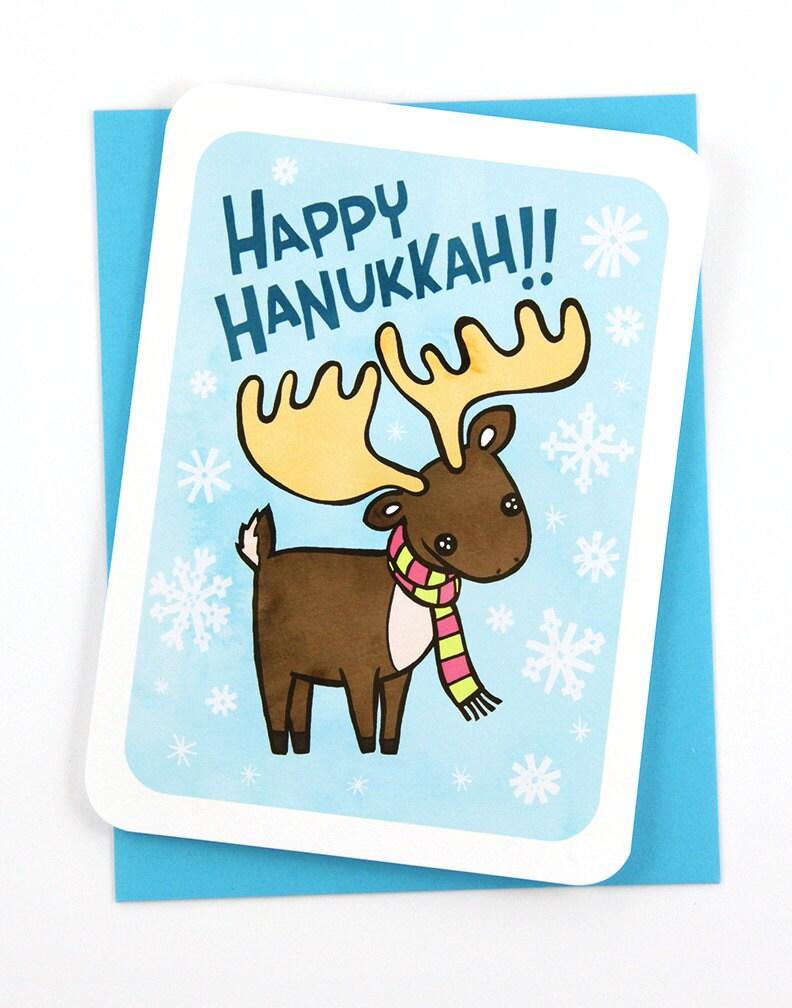 Happy Hanukkah Moose Menorah Card Holiday Notecard Cute
