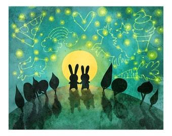 Bunny Constellation Print - Bunny Constellation Print Nursery Art Bunny Art Bunny Illustration Gender Neutral Baby Nursery Animal Art Print
