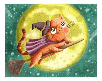 Cat Witch Illustration - Halloween Illustration Art Print Cat Illustration Animal Cat lover Wall Art Illustration Dorm Room Art Cats Witches