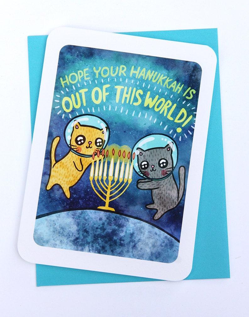 Hanukkah Card Space Cats Holiday Notecard Menorah Card Cat Etsy