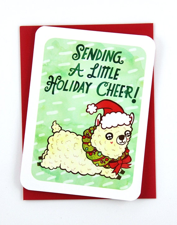 Sending a little holiday cheer alpaca card funny christmas etsy image 0 m4hsunfo