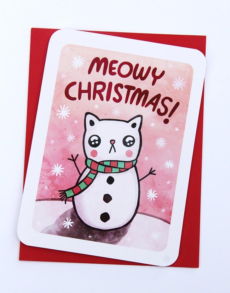 Meowy Christmas Cat Card Funny Christmas Card Pun Christmas Etsy