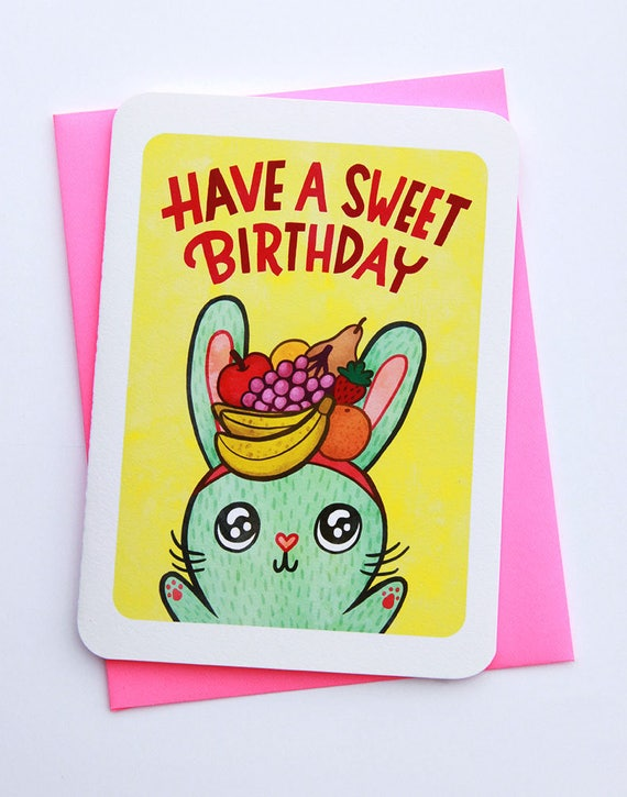 Have A Sweet Birthday Bunny Cute Birthday Card For Kid Friend Etsy
