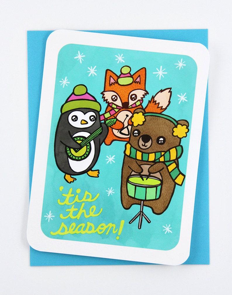 Christmas Notecard.Tis The Season Animal Band Card Christmas Notecard Cute Christmas Card Holiday Animal Card Christmas Greetings Illustrated Holiday Card