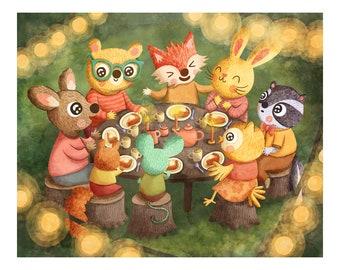 Woodland Dinner Party - Animal Illustration Art Print Woodland Illustration Gender Neutral Baby Nursery Animal Woodland Nursery Art Wall