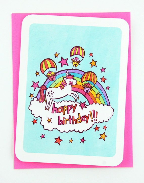 Happy Birthday Unicorn And Cupcakes Funny Card For