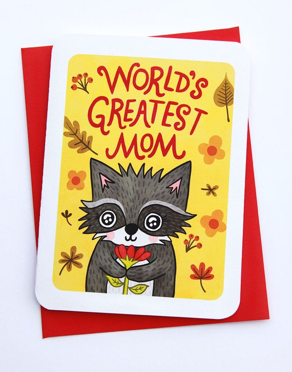 World's Greatest Mom Raccoon Sweet Mothers day card for