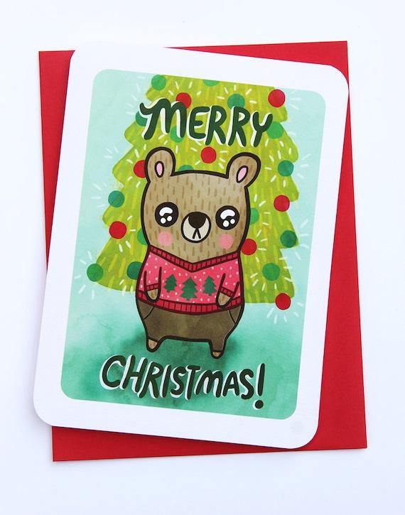 Aquarelle rustique paresseux /& Bébé Personnalisé Carte de Noël