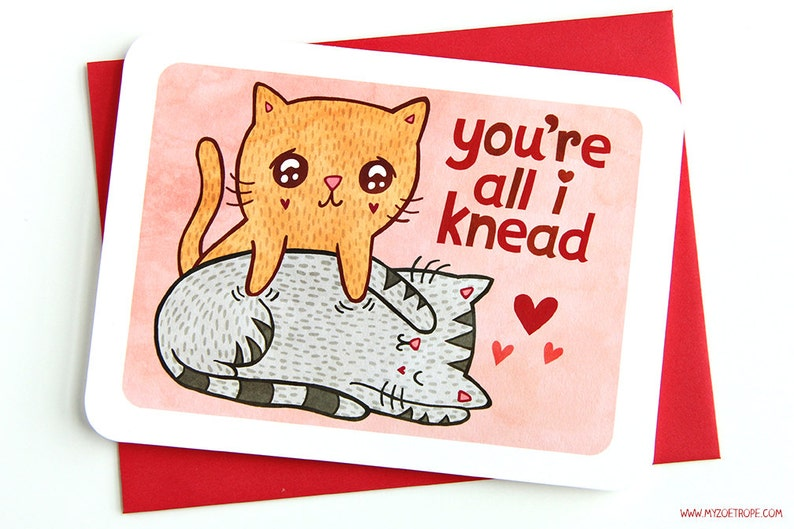 You're all I Knead Valentines day card funny love card image 0