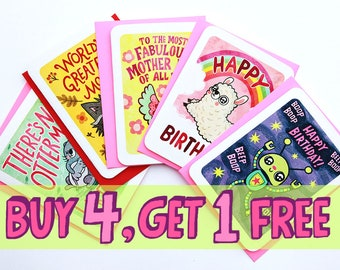 Buy 4 Get 1 Free -Multiple Card bundle Pack Deal cute notecards Multi pack cards Mixed Set choose any 5 cards cute greeting cards funny card