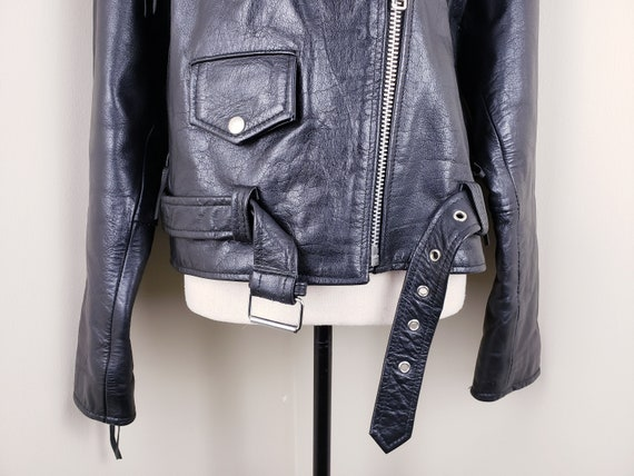 Vintage Black Motorcycle Biker Jacket Leather Bel… - image 5