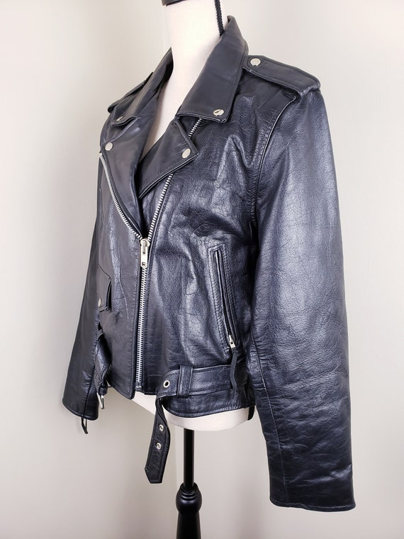 Vintage Black Motorcycle Biker Jacket Leather Bel… - image 6