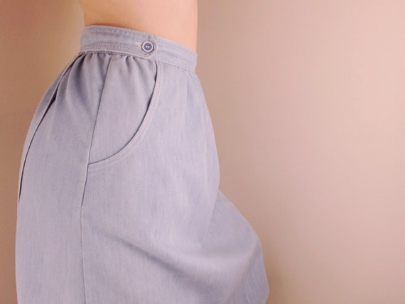 Vintage 70s Chambray Denim Wrap Skirt Medium