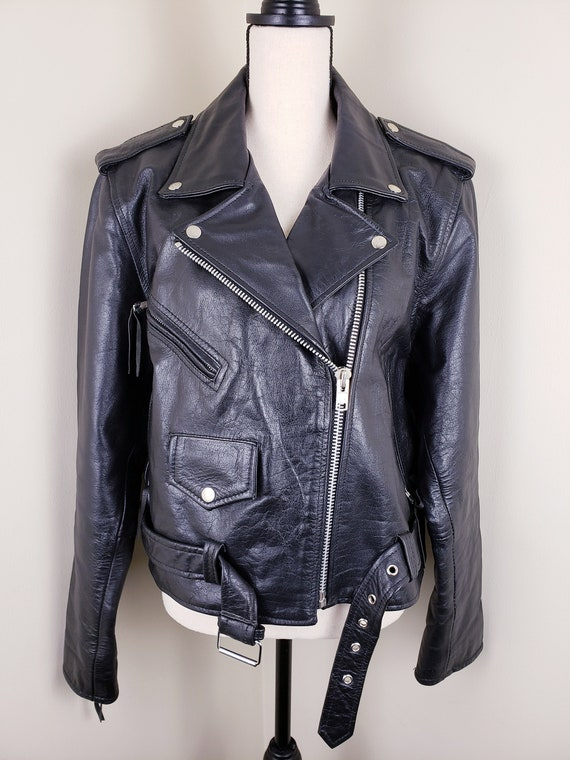 Vintage Black Motorcycle Biker Jacket Leather Bel… - image 3